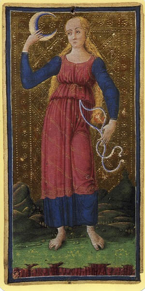 The Moon from the Visconti-Sforza Tarot Bembo Bonifacio Collection