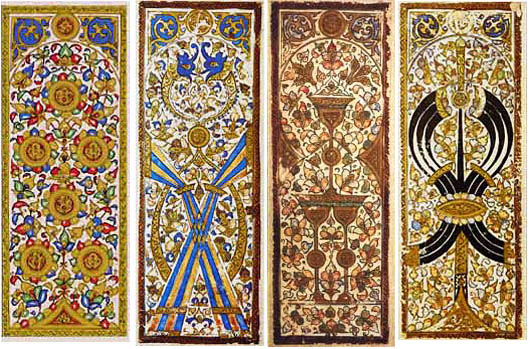 Four Mamluk Playing Cards c. 1500.