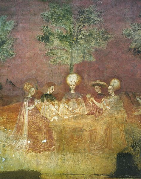 The Tarocchi Players fresco in Casa Borromeo, Milan. 1440s.