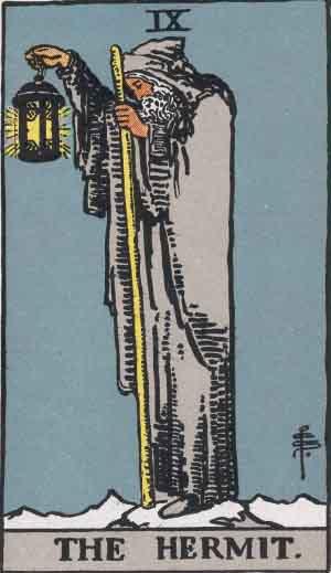 The Hermit Rider Waite Smith Tarot Card