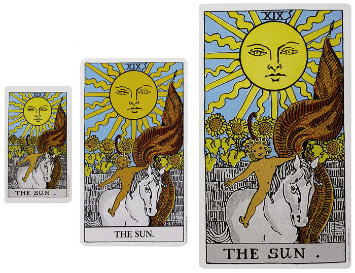 Giant and Mini Rider Waite Smith Tarot Comparisons