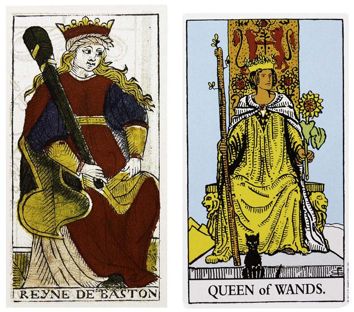 Queen of Batons vs Queen of Wands