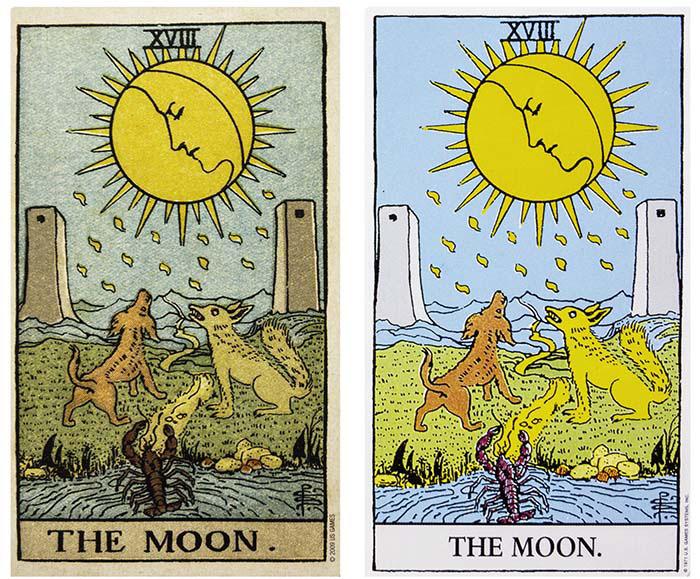 Waite-Smith Moon Tarot Card Comparison