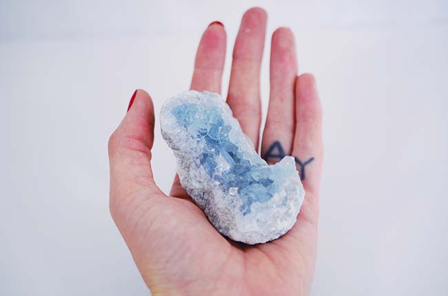 Celestite Cluster - Tarot Cards and Crystals
