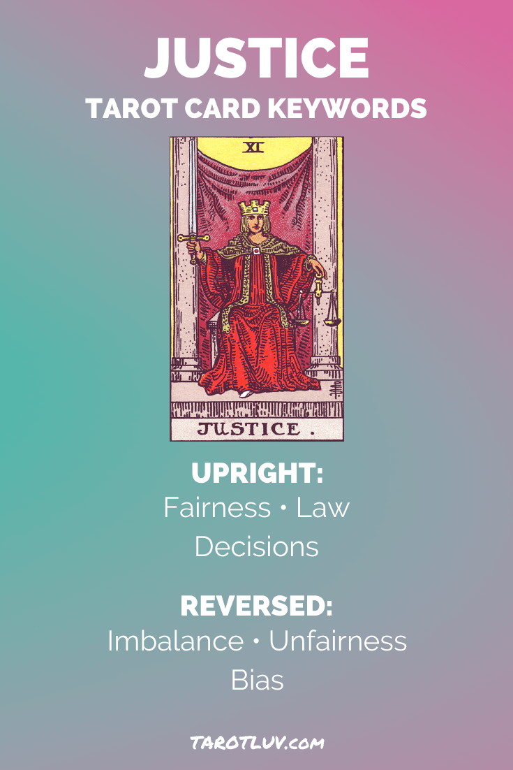 Justice Tarot Card Keywords - Upright and Reversed