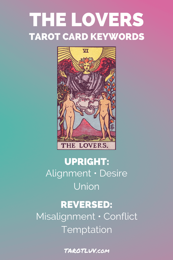 The Lovers Tarot Card Keywords - Upright and Reversed