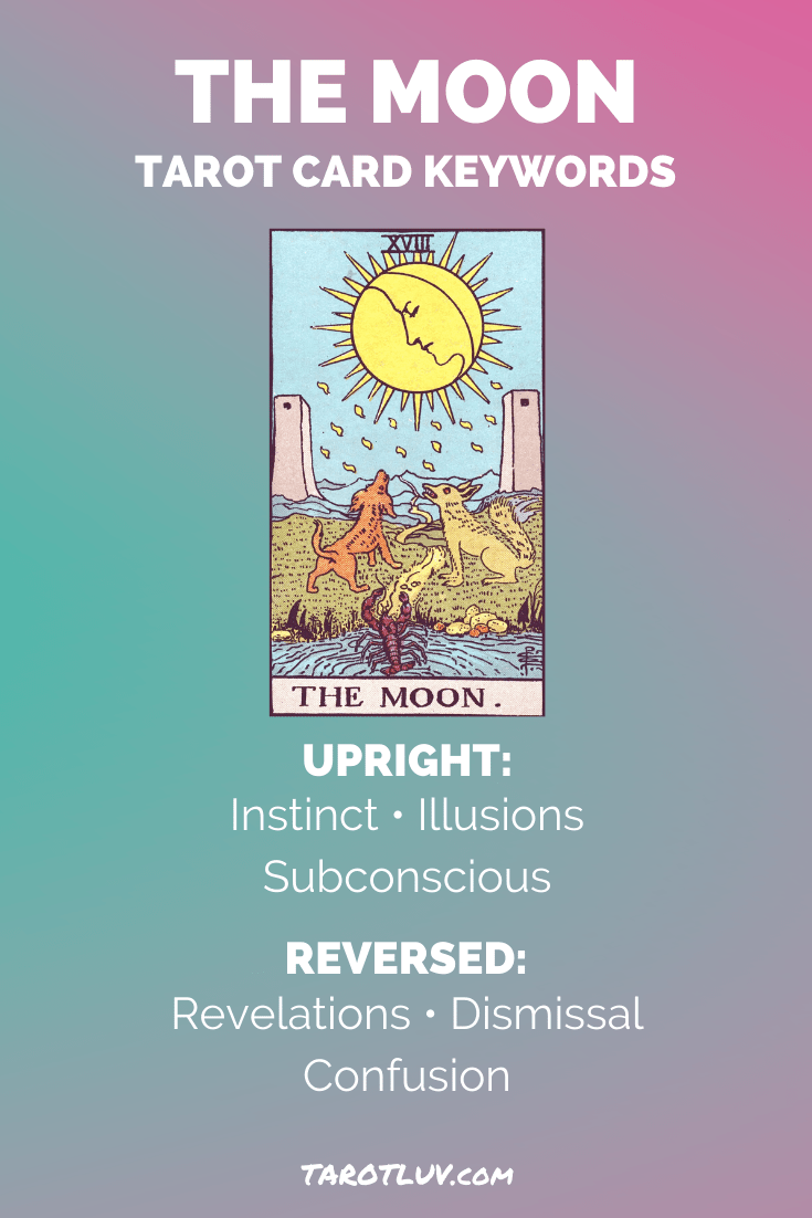The Moon Tarot Card Keywords - Upright and Reversed